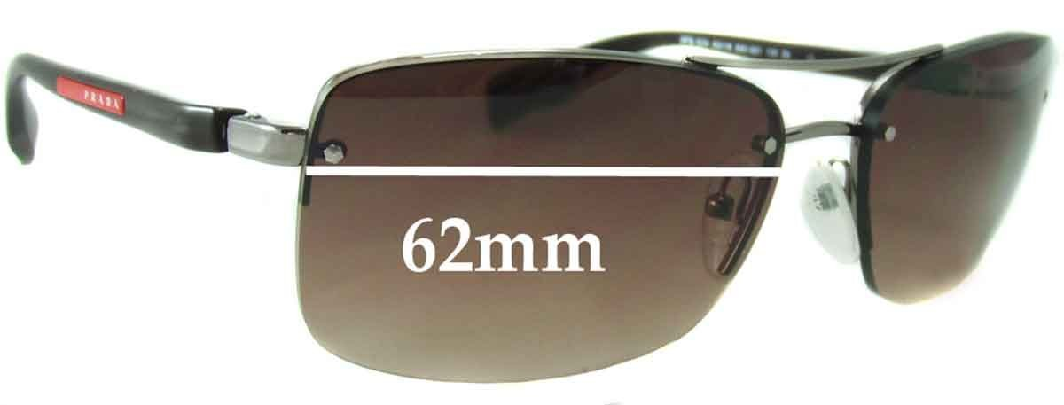 6b2e8d960b Amazon.com  SFx Replacement Sunglass Lenses fits Prada SPS 50N 62mm wide (Polycarbonate  Clear Hardcoat Pair-Regular)  Clothing