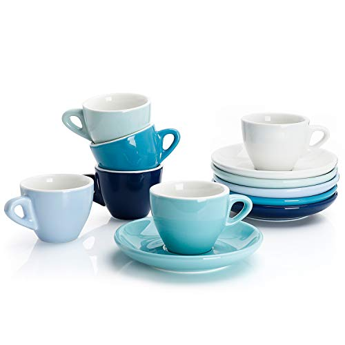 Sweese 4308 Porcelain Espresso Cups with Saucers - 2 Ounce - Set of 6, Cold Assorted - Boots Italian Thermal