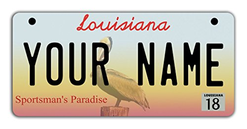 BleuReign(TM Personalized Custom Name 2016 Louisiana State Motorcycle Moped Golf Cart License Plate Auto Tag