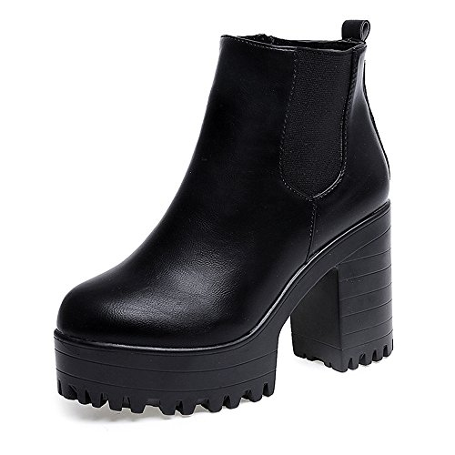 Women Chunky Heel Ankle Boots Slip on Platform Boots Zipper up High Heel Chelsea Boots (Black, US 8)