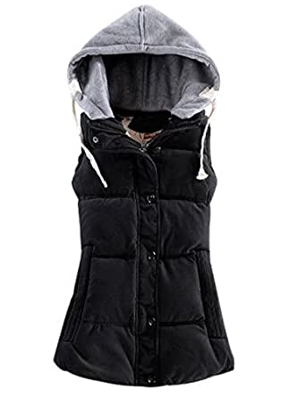 Yeokou Women's Slim Sleeveless Quilted Removable Hooded Winter Puffer Vest Coat - Black - X-Small