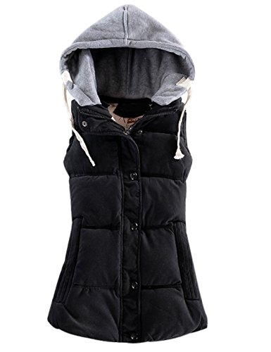 (Yeokou Women's Slim Sleeveless Quilted Removable Hooded Winter Puffer Vest Coat (Large, Black001))