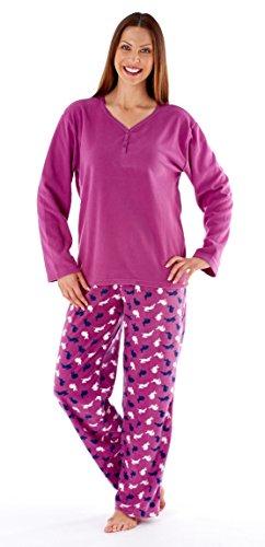 Mujer Suave Cálido Para Invierno Cómodo Lana Larga Conejo Conjunto Pijama Fucsia