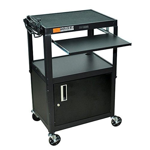 Luxor Multipurpose Adjustable Height Steel A/V Utility Cart with Cabinet, Pullout keyboard Shelf - Black (Locking Cabinet Carts)