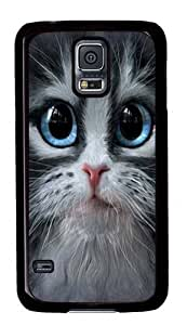 Cutie Pie Kitten Face Case Cover for Samsung S5 and Samsung Galaxy S5 Black