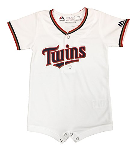 OuterStuff Minnesota Twins White Home Newborn Infants Cool Base Romper Jersey (12 Months)