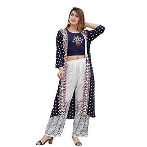 KANSHI Women's Rayon Printed Top with Palazzo & Long Shrug/Jacket | Round Neck | 3/4 Sleeve Knee Length Stright Kurta…