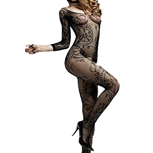 Price comparison product image Balakie Women Sexy Lingerie Women Sex Underwear Sexy Mesh Long-sleeved Open Crotch Jumpsuit (One size,  Black)