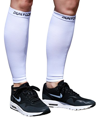 Calf Compression Sleeve - Leg Compression Socks for Shin Splint, Calf Pain Relief - Men, Women, and Runners - Calf Guard for Running, Cycling, Maternity, Travel, Nurses (White, XL)