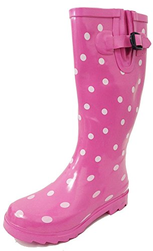 G4U Women's Rain Boots Multiple Styles Color Mid Calf Wellies Buckle Fashion Rubber Knee High Snow Shoes (9 B(M) US, Pink Polka Dots)
