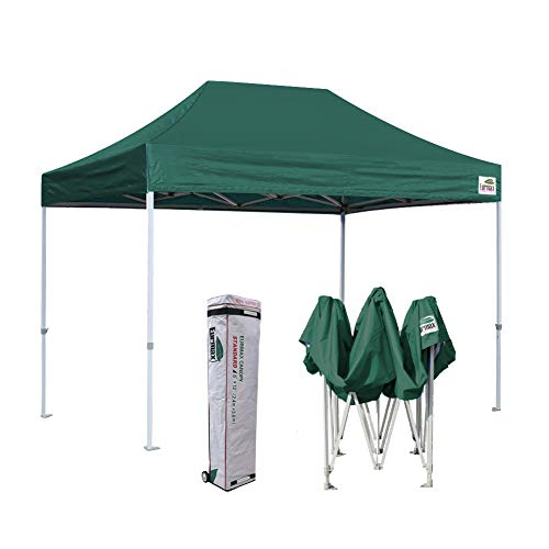 Eurmax 8x12 Ez Pop Up Canopy Party Tent Commercial Outdoor Instant Canopies Bonus Deluxe Wheeled Storage Bag (Forest Green)