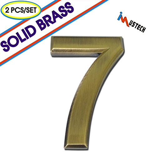 2 Pcs of Number 7 Solid Brass Mailbox Number, BLK-Tech 2-3/4 Inch Self-stick Solid Molding Number in Eco-Friendly Brass,Mailbox Number, House Number, Door Number, Hotel Number, Address Number