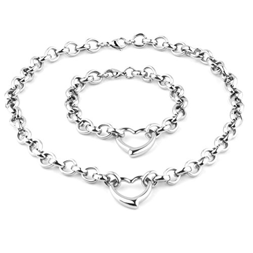 Womens Girls Stainless Steel Silver Handmade Charm Heart Bracelet Necklace Jewelry Set