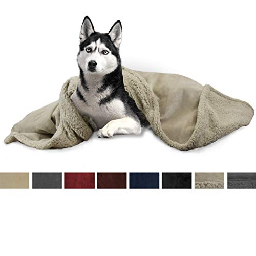 PetAmi Dog Blanket, Sherpa Dog Blanket | Plush, Reversible, Warm Pet Blanket for Dog Bed, Couch, Sofa, Car (Taupe/Taupe Sherpa, 50x40 Inches)