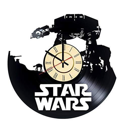 Empire Clock - AT-AT Walker Vinyl Clock Gift for Star Wars Fans Empire Strikes Back Wall Decor Clone Wars Art Force Awakens Home & Living Room Artwork