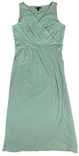 Lands' End Women's Petite Stripe Fit and Flare Maxi Dress XL Light Meadow Mist