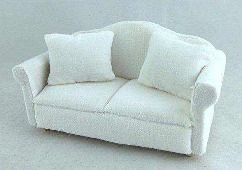 Puppenhaus Miniatur Wohnzimmer Möbel 2-sitzer Weiß Velour Sofa Loveseat