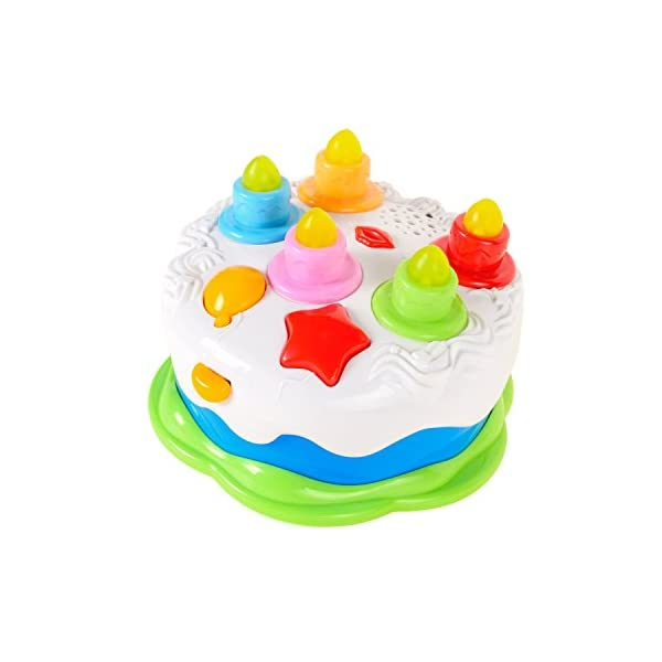 Luke4deals Musical Cake With Lights Music And Sounds Happy Birthday Candles Pretend Play Food Toys For Girls Boys Kids Or Toddlers