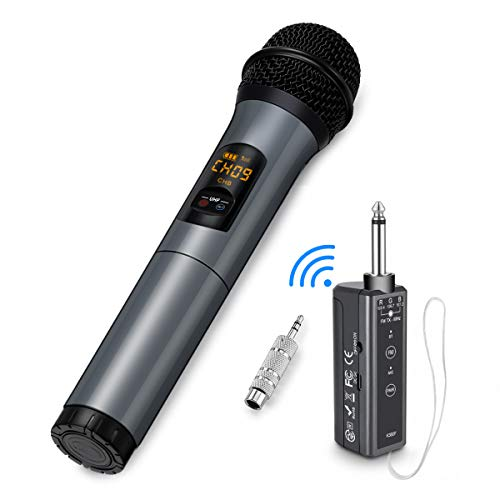 Wireless Microphone, 10 Channel UHF Wireless Bluetooth Microphone System, Dynamic Handheld Cordless Mic with Rechargeable Receiver for Karaoke/Singing/Church/Speech
