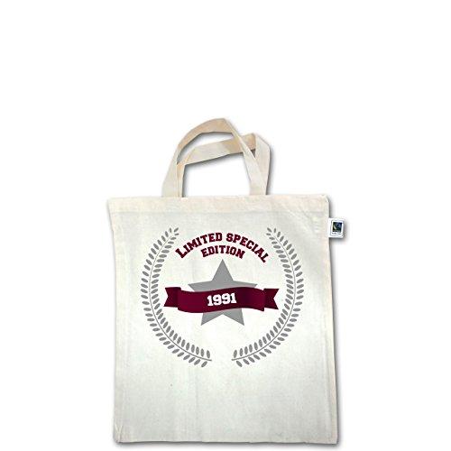 Geburtstag - 1991 Limited Special Edition - Unisize - Natural - XT500 - Fairtrade Henkeltasche / Jutebeutel mit kurzen Henkeln aus Bio-Baumwolle
