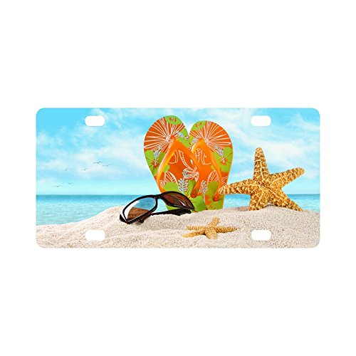 Valentine's Day Gifts Sunglasses Flip Flops Starfish On Beach Design Durable License Plate Frame Metal Personalized Car Tag 12 X 6 inches (4 - Sunglasses Outline