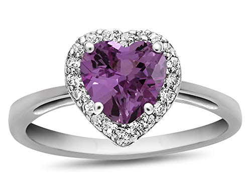 (Finejewelers 10k White Gold 6mm Heart-Shaped Created Pink Sapphire with White Topaz accent stones Halo Ring Size 7)