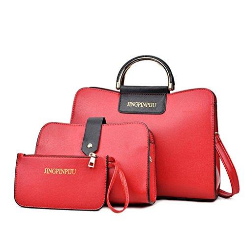 NVBAO Diagonale a mano della donna attraverso la grande borsa Kit a tre pezzi Portafoglio + singolo Spalla + portafoglio, meters white Red