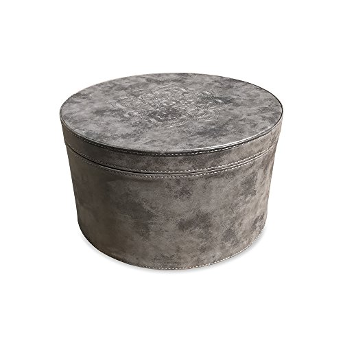 Faux Suede Box (The Mandala Circular Nesting Box, Tooled Floral Details, Lush Gray Faux Suede, Lift Off Lid, Lined, Stitched, Over 1 Ft Diameter, By Whole House Worlds)
