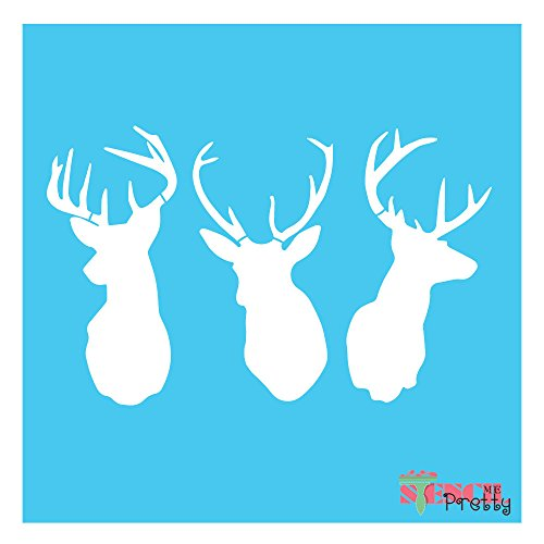 Deer buck stag Antlers stencil template U PAINT (X Small - 9'' x 5.5'') by Stencil Me Pretty