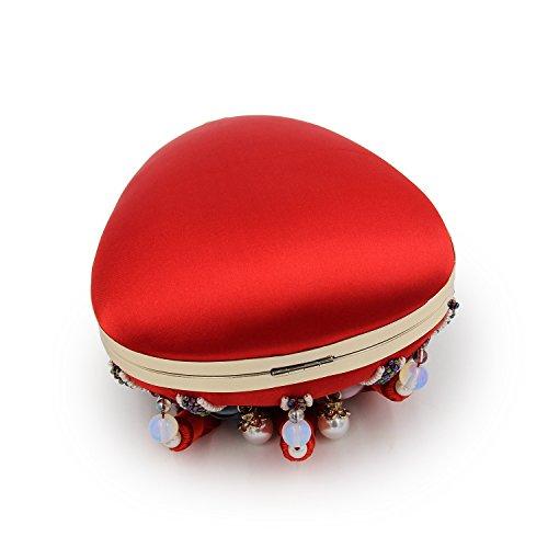 Bordado de flores de la muchacha Flada gotas moldeadas forma de la noche bolso de fiesta borla bolso bolsa de embrague verde Rojo