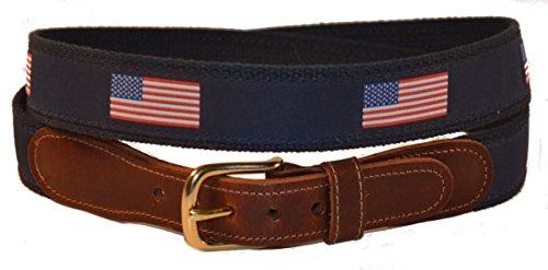 Preston Leather American Flag Belt Blue - Usa Leather