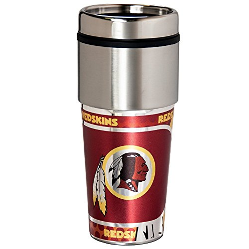 Washington Redskins 16 oz Travel Tumbler with Metallic Wrap