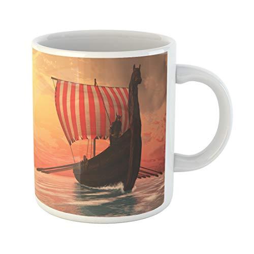 Semtomn Funny Coffee Mug Viking Man and Longship Longboat Sails to New Shores 11 Oz Ceramic Coffee Mugs Tea Cup Best Gift Or Souvenir