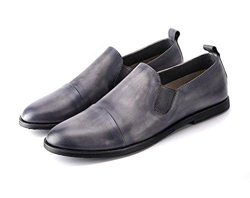 Hombres Oxfords Cuero Casual Comodidad Ponerse Mocasines Conducción Plano gris Respirable Hecho a mano Zapatos Trabajo