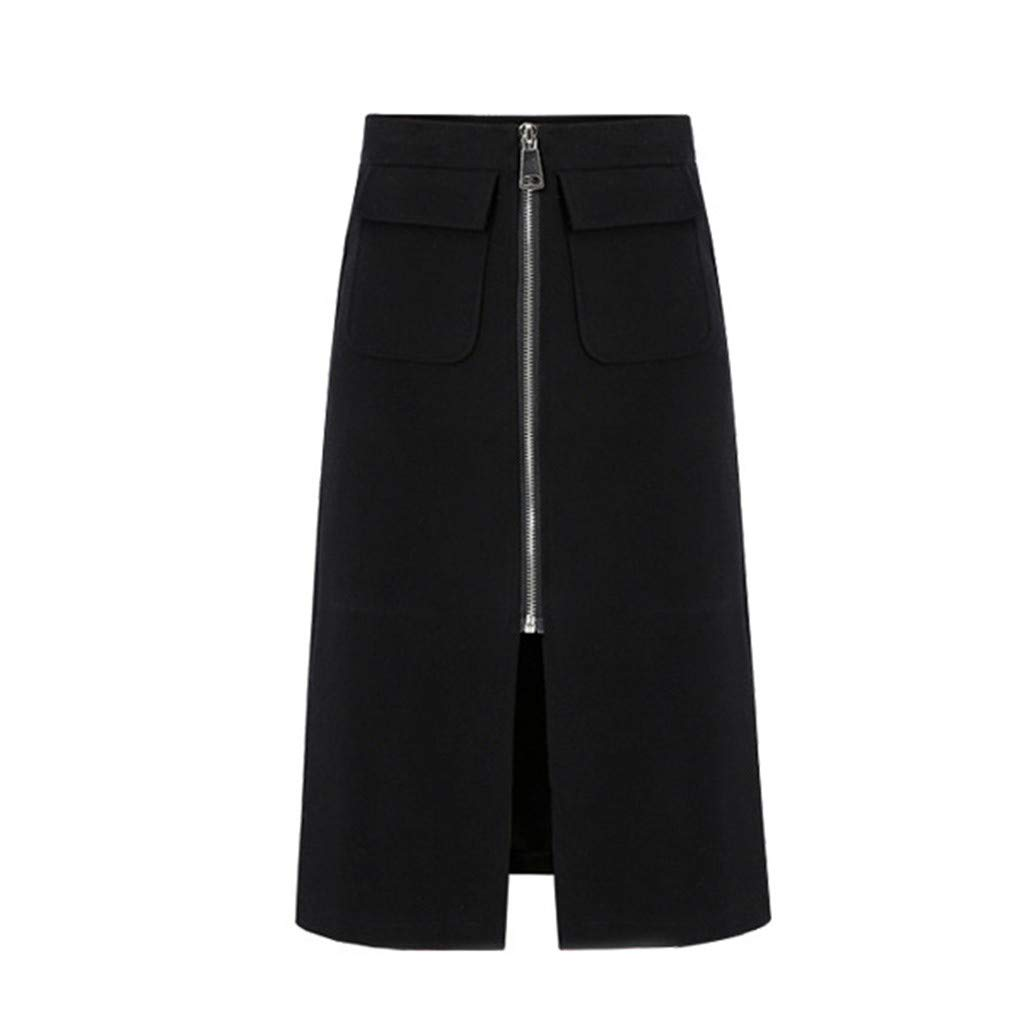 TIFENNY Black Straight Skirts for Women Solid High Waist Long Maxi Skirt Slim Slinky Front Zipper Skirt with Pockets