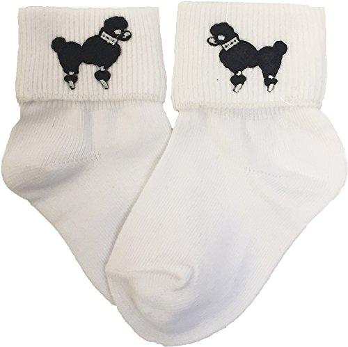 Hip Hop 50s Shop Girls Bobby Socks W/Poodle Applique (Black, Toddler)