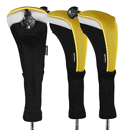 - Andux 3pcs/Pack Long Neck Golf Hybrid Club Head Covers with Interchangeable No. Tag CTMT-02 (Yellow)