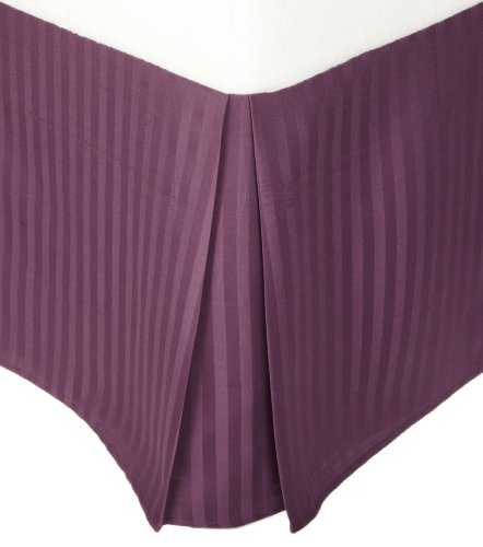 Superior 1500 Series 100% Microfiber Pleated Twin XL Bed Skirt Stripe, Plum - 15 Inch Drop and 100% Microfiber