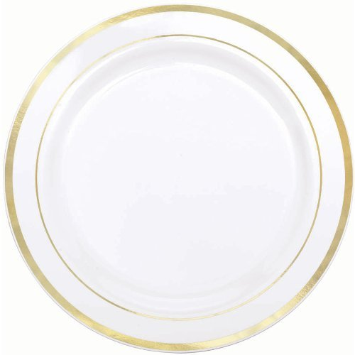 Amscan Elegant Premium Plastic Round & Reusable Dishware White with Gold Trim 7'' Pack 20 Party Supplies , 120 Pieces