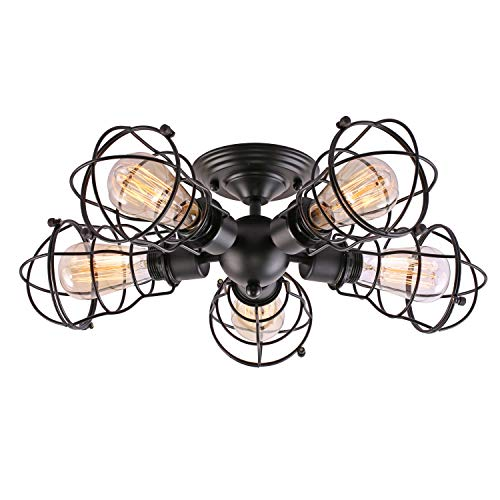 - Creatgeek 5 Wire Cages Semi-Flush Mount Light Fixture, Industrial Close to Ceiling Lighting, Black Finish Vintage Retro Lamp for Hallway Living Room Kitchen Bedroom