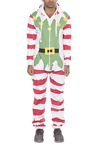 Noroze Mens Unisex Elf Onesie Fleece Xmas Novelty Christmas Jumpsuit (M, Elf White) ()