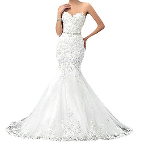Queendress Womens Sweetheart Mermaid Wedding Dresses Lace Long Bridal Gowns Ivory Us16 H001