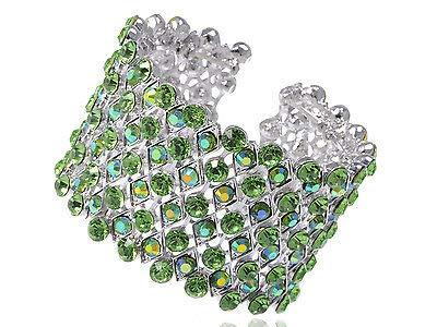 FidgetFidget Silver Tone Meridian Blue Green Crystal Rhinestone Cuff Bracelet Bangle Jewelry (Tone Rhinestone Bangle)