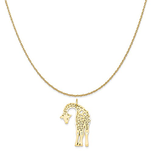 14k Yellow Gold Giraffe Charm on a 14K Yellow Gold Rope Chain Necklace, 20