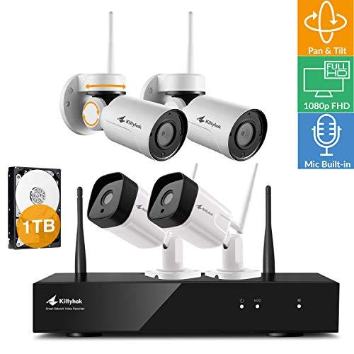 [Pan Tilt Audio 8CH] Kittyhok 1080p FHD WiFi Security Camera System Wireless, 8CH Hub 1TB HDD, 2 Pan Tilt WiFi Cameras, 2 Bullet WiFi Cameras, Built-in Audio, Pan Tilt Zoom, Powered by Long Range WiFi For Sale