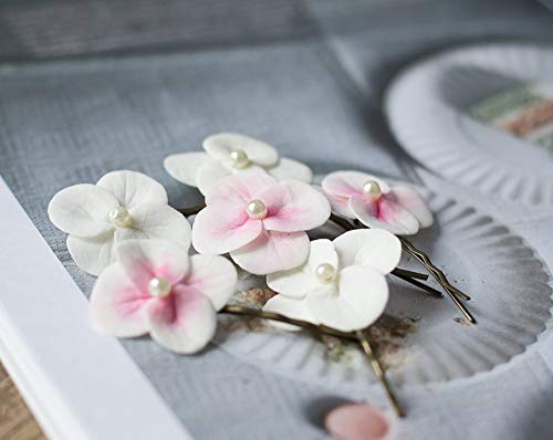White hydrangea flower hair bobby pins