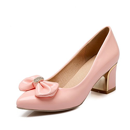 Shoes WeenFashion on Toe Heels PU Women's Pink Pumps Closed Pull Solid Kitten Pointed TTxrFPq