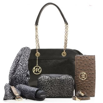 Emilie M. ESSCC10157BLK Nicole Chain Shoulder Bag With 6 Piece Essentials Box44; Black by Emile M.