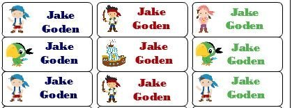 30 Personalized Waterproof Name Labels Jake And The Neverland Pirates Labels Izzy Skully Jake Cubby Name Labels Personalized Name Labels Personalized Tags Favor Tags Daycare -