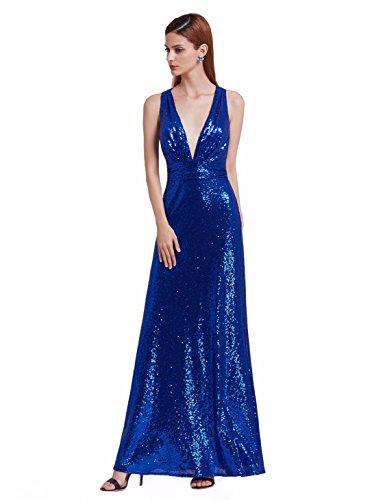 Ever-Pretty Vestidos de Noche para Mujer Vestido de Cuello V Profundo Vestido de Lentejuelas Vestido Largo 7109 Azul Zafiro